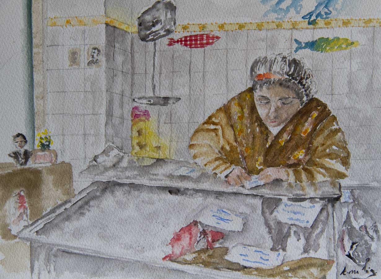 D.Rosário, peixeira na mouraria, aguarela